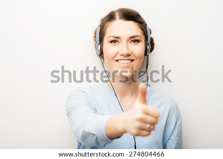 girl in headphones with microphone - stock photo