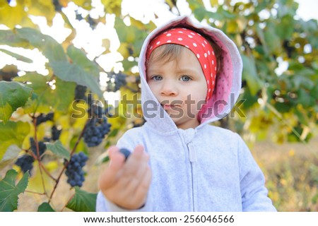 girl in hood giving grape  - stock photo