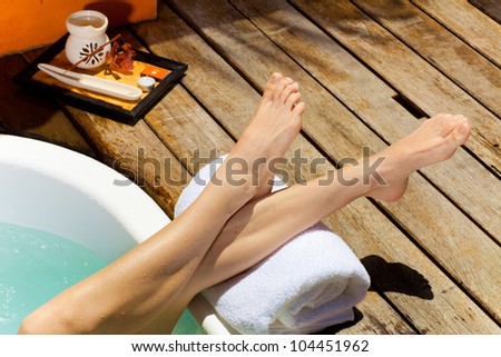 girl in jacuzzi - stock photo