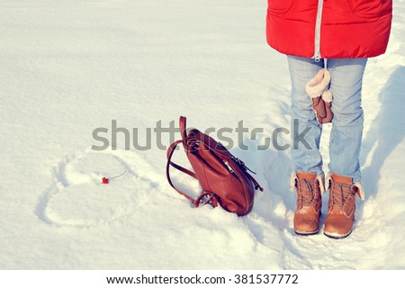 Girl in jeans and yellow boots.Concept .Love - stock photo