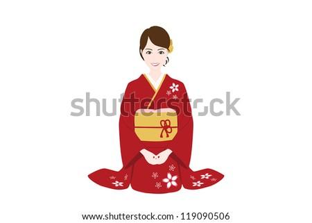 girl in kimono - stock photo