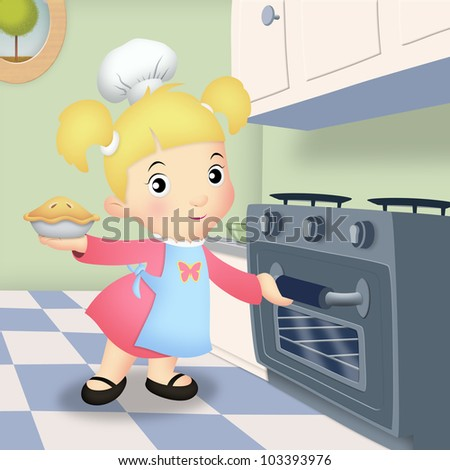Girl in kitchen placing pie in oven.