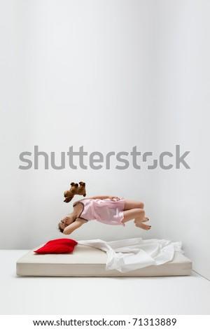 Girl in levitation - stock photo
