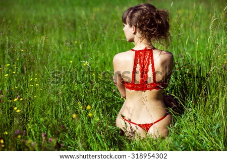 Girl in lingerie sitting on the field - stock photo