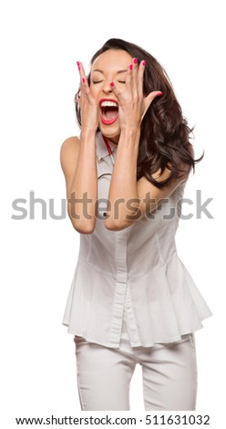 Girl in medical clothing overreacting on the isolated background
