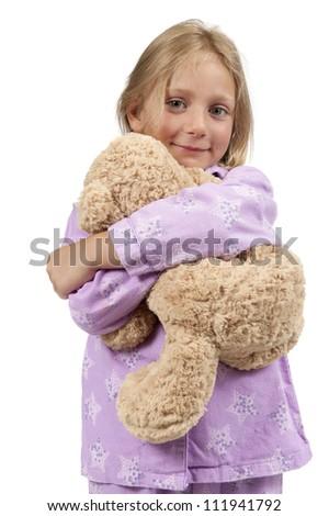 girl in nightwear with teddy bear - stock photo