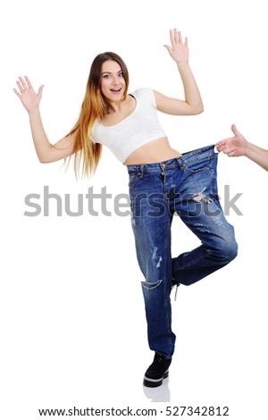 girl in pants large size on a white background. hand draws a beautiful girl. Weight Loss
