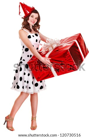 Girl in party hat holding group of gift box. Isolated.