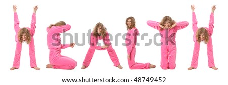 Girl in pink clothes  making word HEALTH, collage - stock photo