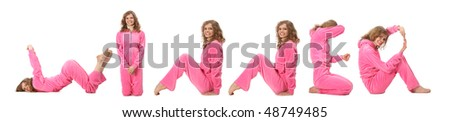 Girl in pink clothes  making word WINNER, collage - stock photo
