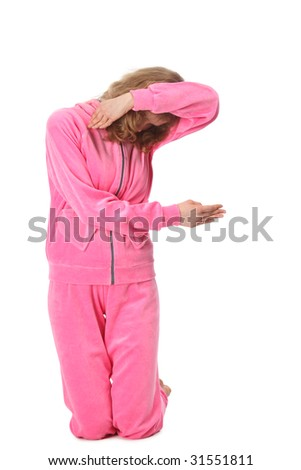 Girl in pink sport clothes represents  letter F - stock photo