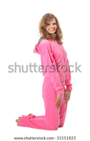 Girl in pink sport clothes represents  letter J - stock photo