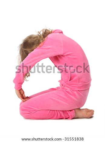 Girl in pink sport clothes represents  letter O - stock photo