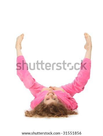 Girl in pink sport clothes represents  letter U - stock photo