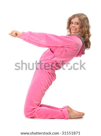 Girl in pink sport clothes represents  letter Z - stock photo