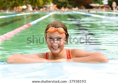 Girl in pool with a thermal water.