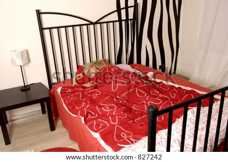 girl in red bed