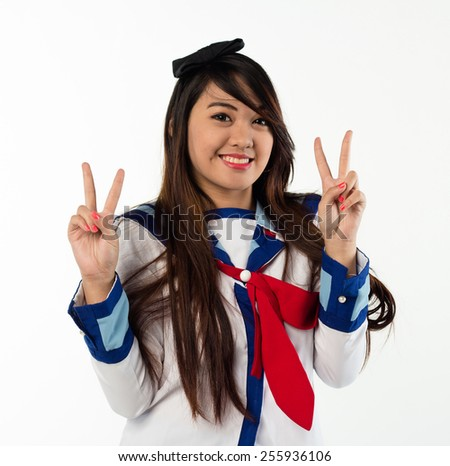 girl in sailor suit - stock photo