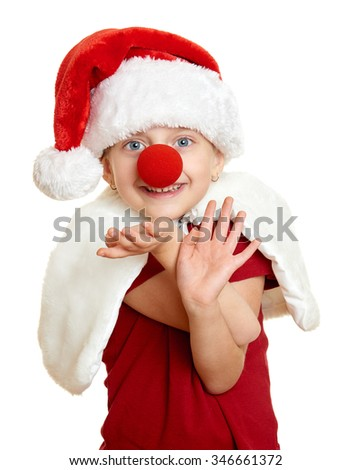 girl in santa hat with clown nose on white isolated - stock photo
