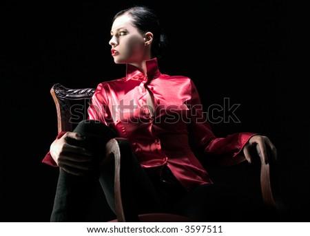 girl in sensual pose - stock photo
