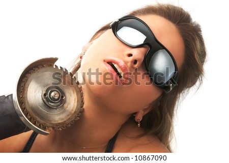girl in sunglasses with saw touch her neck isolated on white