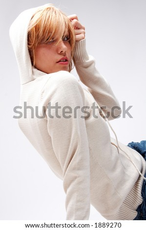 girl in sweater with hood - stock photo
