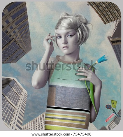 Girl in the big city. Art-photo in retro style - stock photo