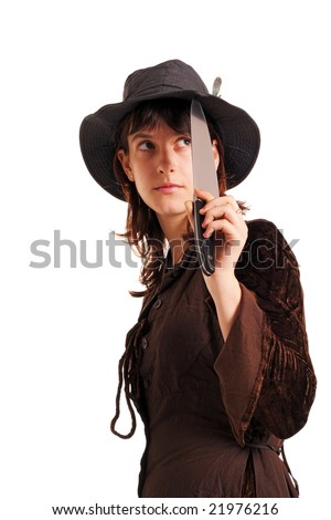 Girl in the brown dress and hat with the knife, isolated on white
