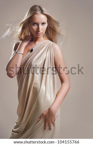 girl in the drapery - stock photo