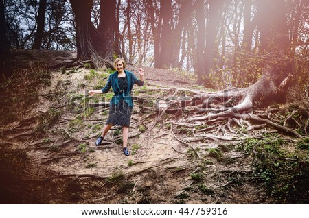 Girl in the fairy forest - stock photo
