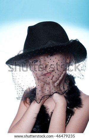 Girl in the mask and hat