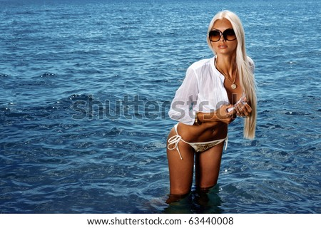 girl in the sea - stock photo