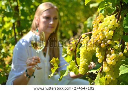 Girl in the vineyards. Lavaux, Switzerland - stock photo