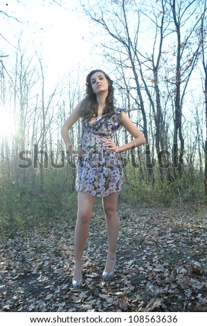girl in the woods - stock photo