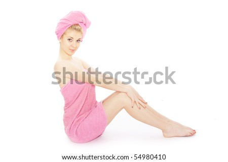 girl in towel after shower - stock photo
