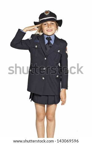 girl in traffic police uniform - stock photo