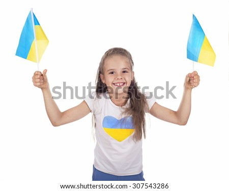 girl in Ukrainian symbols, flags on a white background - stock photo