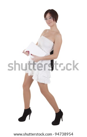 girl in white with a laptop on a white background - stock photo