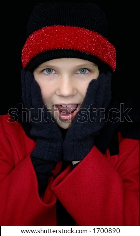 Girl in winter clothing with Surprised face