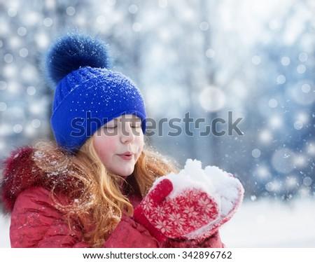 girl in winter park - stock photo