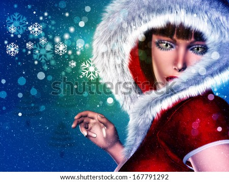 Girl in winter red outfit with fur on abstract background with snowflakes. - stock photo