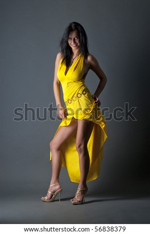 girl in yellow dress - stock photo