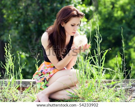 Girl With Bunch Of Field Flowers Stock Image - Image of