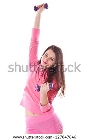 girl is engaged in fitness with dumbbells on a white background - stock photo