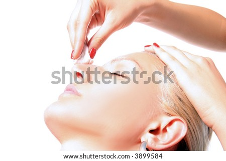 girl is having a cleaning treatment - stock photo