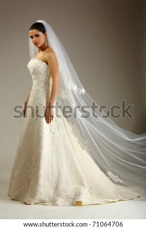 Girl is in wedding dress - stock photo