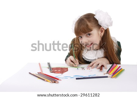 Girl is painting her family in bright colours. Schoolgirl is  drawing  in pencil. Isolated over white background. - stock photo