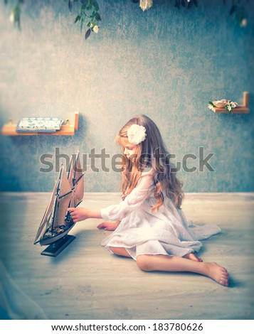 girl is playing - stock photo