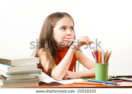 Girl is studying - stock photo