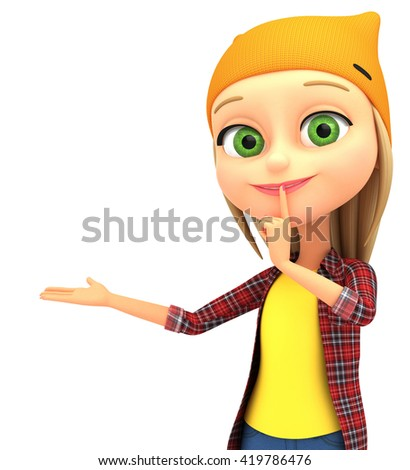 Girl isolated on white background put her finger to her lips Shhh sign. 3d render illustration. - stock photo